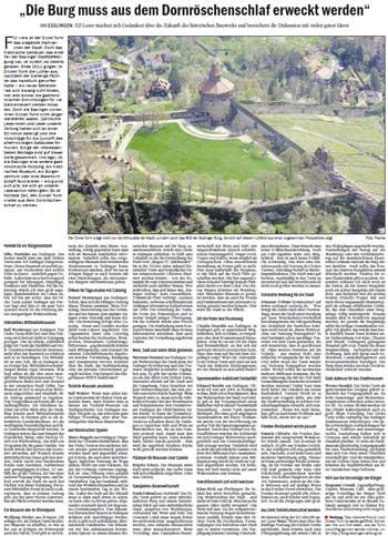 EZ Bericht: Die Burg muss aus dem Dornröschenschlaf