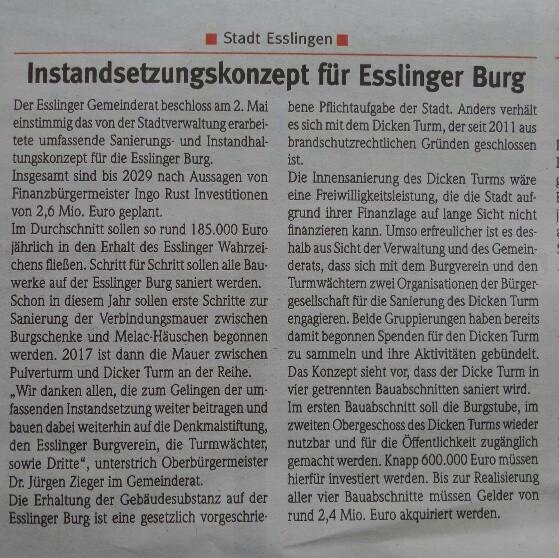 Zwiebel Instandhaltungskonzept Esslinger Burg Gemeinderatsbeschluss