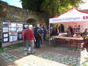 Der Infostand mit den Stellwänden mit Informationen zur Burg und dem Dicken Turm